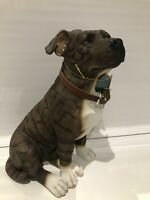 Large Sitting Brindle Staffordshire Bull Terrier Ornament Figurine Gift
