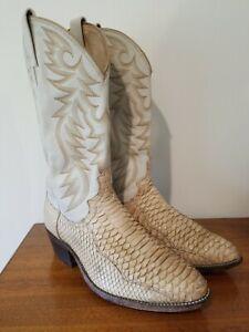 Vtg Dan Post Python Snake Skin MENS Western Cowboy Boots Exotic Leather 8.5 EW