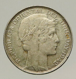 1942 URUGUAY Vintage WWII Time Wheat Antique Genuine Silver 20 CENT Coin i93197