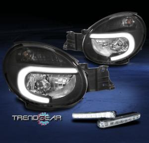 For 2002-2003 Subaru Impreza WRX LED Bar Black Replacement Headlights w/DRL Kit