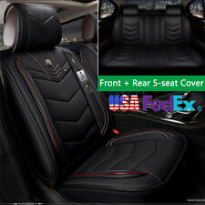 Microfiber Leather Car Seat Cover Cushion Protect Front + Rear Black & Red