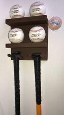 Baseball Bat Rack Display Holder Wall Mount Brown 3 Bats 4 Balls