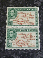 FIJI 2D POSTAGE STAMPS PAIR SG253 2ND DIE 1 WITHOUT 180 DEGREE UN MOUNTED MINT