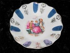 Vintage Porcelain Pin Dish Romantic Scene Regency Dress Gilded Pattern FOREIGN