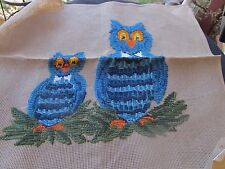 REYNOLDS PREWORKED NEEDLEPOINT CANVAS MADEIRA 2 BLUE OWLS  23X23""