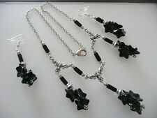 Vintage Art Deco Style Glass Flower Necklace, Silver Matching Long Earrings
