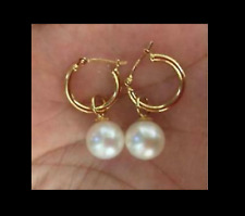 PERFECT 7-8MM AAA natural Akoya white round pearl earrings 14K GOLD
