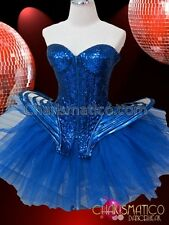 CHARISMATICO Metallic Royal Blue Sequined Gaga Corset and Net Ruffled Tutu