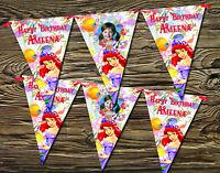 Personalised Disney Princess Ariel Happy Birthday Party Flag Banner Bunting x 12