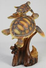 Green Sea Turtle Pair Faux Wood Carving Figure Statue Ocean Wildlife Tortoise