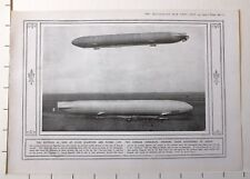 1915 WWI WW1 PRINT ~ ZEPPELIN CLOSE QUARTERS TWO-GERMAN DIRIGIBLES