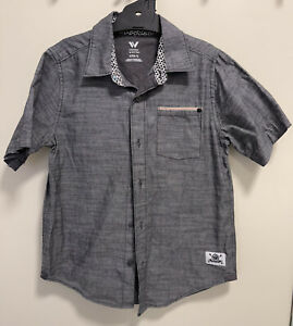 Shaun White Button Up Shirt Youth Size Small Age 6-7 Grey Short Sleeve Pocket