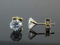 585 Gold  Ohrstecker 1 Paar 5 mm Grösse mit  Zirkonia Steinen  4 Krappenfassung