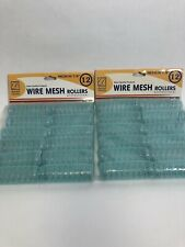 "2 Packs Donna Collection Medium 7/8"" Wire Mesh Hair Rollers - 12Pcs/ PACK"