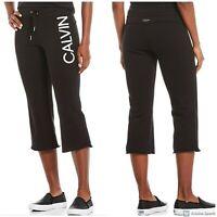 NWT CALVIN KLEIN Performance Logo Kick Flare Women's Pants Black Size M
