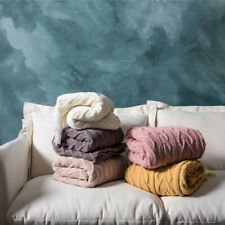 Chenille Throw Sofa Blanket Bed Knitted Tassels Blankets Nap Office
