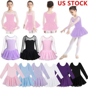 Maritown Girls Ballet Dress Tulle Dance Leotard Short Sleeves Princess Skirt Children Ballerina Costumes Gymnastics Dance Outfit Clothes 3-7Y
