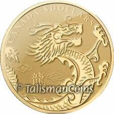 Canada 2012 Year Dragon Lunar Zodiac $5 1/10 Troy Oz Pure Gold in FULL OGP