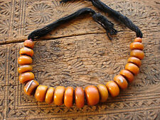 Moroccan large tarnished  orangey amber resin bead necklace