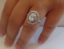 LADIES ROUND CENTER RING 925 STERLING SILVER W/ 3.50 CT DIAMONDS/ SZ 5 - 9