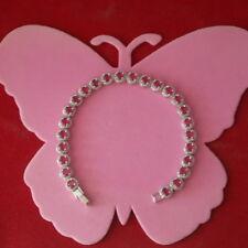 "Beautiful 18K White Gold Gp With Pink Tourmaline Bracelet 12.5 Gr. 7"" Inc.In Box"