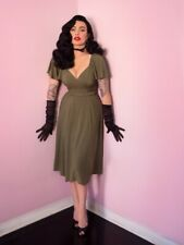 BNWTs Micheline Pitt Vixen Olive Green Babydoll Dress Small Pin Up Vintage Swing