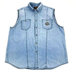 Harley Davidson Sz XXL Sleeveless Snap Button Vest Biker Blue Denim Embroidered