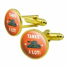 Round Cufflink Set Gold Color Tanks A Lot Thanks Funny Humor
