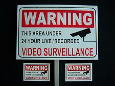 1 VIDEO SURVEILLANCE SECURITY SIGN + 2 DECALS  - 1 STAKE ..#PS-419