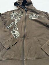 Mens Hoodie MMA Elite Design Sz Medium M Brown Jacket Full Zip Skull Angel Wings