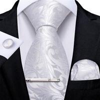 USA White Silk Woven Jacquard Paisley Mens Necktie Hanky Cufflinks Tie Clip Set