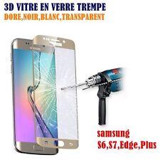 film protecteur & écran verre trempé Samsung Galaxy S6 S7 Edge Plus or noir ...