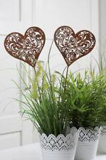 38 cm Rost Dekostecker Metall Stecker 72914 Gartenstecker HERZ mit Blumen