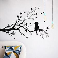 Cat On Long Tree Branch Wall Sticker Animals Cats Art Decal Kids Room Decor