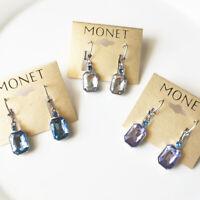 New Monet Glass Square Drop Earrings Gift Fashion Women Jewelry 3Colors Chosen