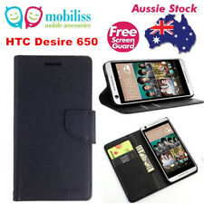 Mooncase Stand BLACK Wallet Case TPU In Cover For HTC Desire 650 + Screen Guard