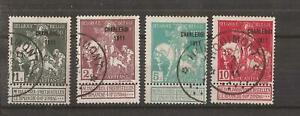 BELGIUM 1911 CHARLEROI EXHIBITION TYPE B SET OF 4 VFU