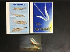 AIRLINE AIR FRANCE LOT OF 2 VINTAGE MENUS & POSTCARD