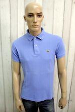 LACOSTE Uomo Polo 3 Blu Taglia M Cotone T-Shirt Casual Maglietta Manica Corta