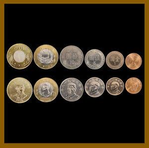 Taiwan 1/2 1 5 10 20 50 Yuan (6 Pcs Coin Set), 1981-2019 Flower Bimetallic Unc