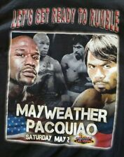 """Floyd Mayweather Manny Pacquiao """"Lets Get Ready To Rumble"""" Shirt Sz M (A2)"""