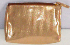 "Cosmetics Make up Bag or Pencil Case shiny gold fabric 7½"" x 5½"" AVON"