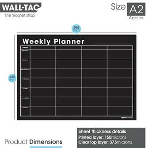Self Adhesive Wall Planner + Chalk Pens, Dry Wipe Blackboard Chalkboard Calendar
