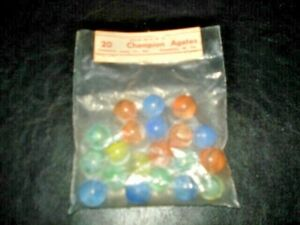 Vintage Marbles 20 Champion Agate Marbles in Original Package Pennsboro, WV, USA