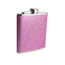 6oz Hip Flask Stainless Steel Pink Glitter Design Hip Flask Best Quality