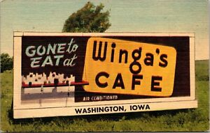 Linen Postcard Billboard Advertisement Winga's Cafe in Washington, Iowa~139342