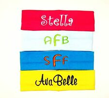 4 Monogrammed Headbands- Any Name or Initials - U Pick All