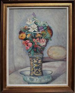 Tableau Eugène Alluaud Bouquet de mariage Huile monogrammé EA Ecole de Crozant