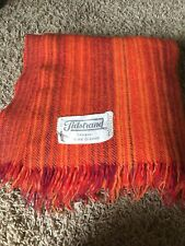 Vtg Tidstrand Viola Grasten Wool Blanket Throw Sweden Orange Red Purple Afghan