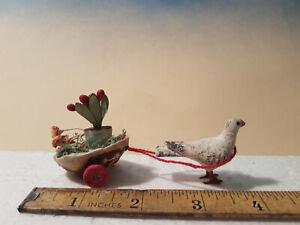 Antique Rare Minature German Easter Egg Dove Cart *Erzgebirge
